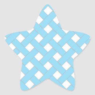 Woven/Wicker-look Pattern in Aqua and White Star Sticker
