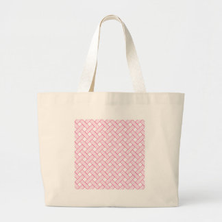 Woven/Wicker-look Pattern: Pink and White Large Tote Bag