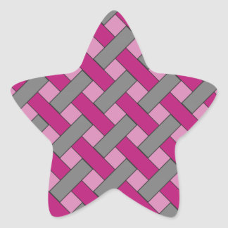 Woven/Wicker-look Pattern: Pink, Gray and Black Star Sticker