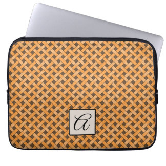 Woven Yellow Rattan on Custom Brown with Monogram Laptop Sleeve