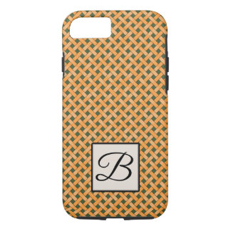 Woven Yellow Rattan on Custom Green with Monogram iPhone 8/7 Case