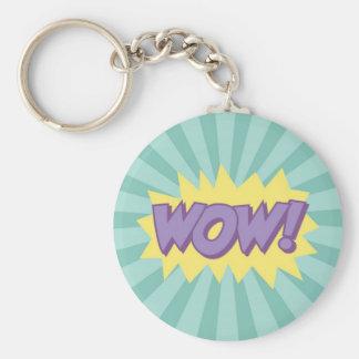 WOW comic book style effect Basic Round Button Keychain