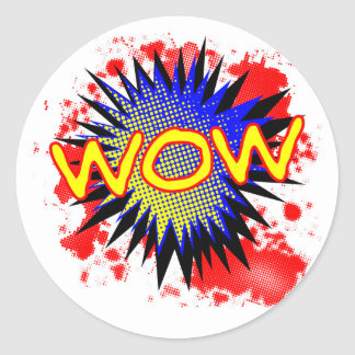 Wow Comic Exclamation Classic Round Sticker