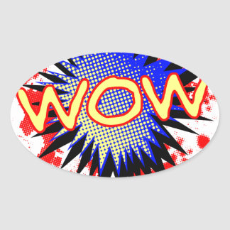 Wow Comic Exclamation Oval Sticker