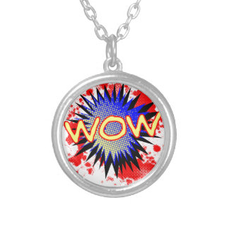 Wow Comic Exclamation Silver Plated Necklace