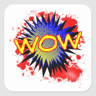 Wow Comic Exclamation Square Sticker