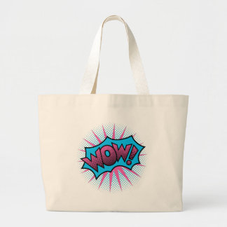 Wow Text Design Large Tote Bag
