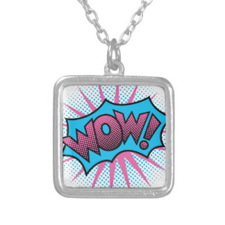 WOW! Text Design Silver Plated Necklace