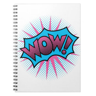 Wow Text Design Spiral Notebook