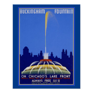 WPA Buckingham Fountain Chicago Ill Poster