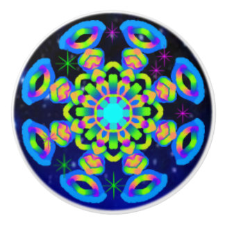 WQ Kaleidoscope Ceramic Knob Blue Lovers
