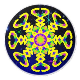WQ Kaleidoscope Ceramic Knob Yellow Lovers