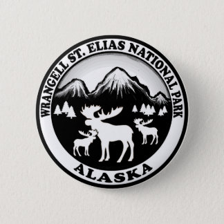 Wrangell St. Elias Nat Park Alaska moose circle 2 Inch Round Button