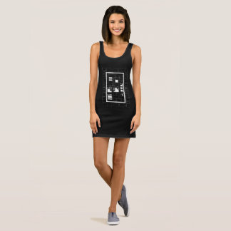"Wrap docker black ""labyrinth of squares "" sleeveless dress"