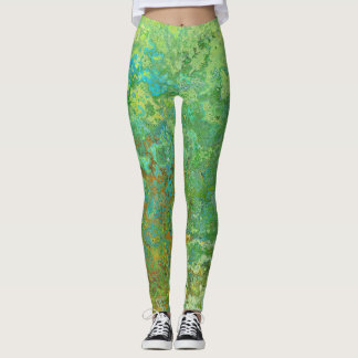 Wraparound Abstract Art In Greens Blues & Golds Leggings
