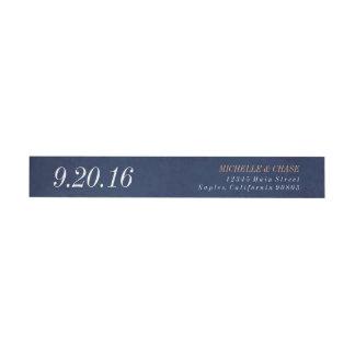 Wraparound address label, navy blue, save the date wrap around label