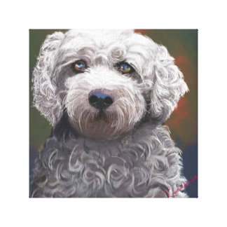 "Wrapped canvas 12x12"" dog portrait."