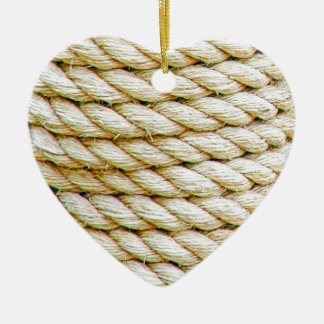 Wrapped rope ceramic ornament