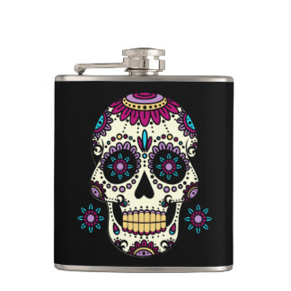 Wrapped up canteen in Vinyl Skull Color Flores Hip Flask