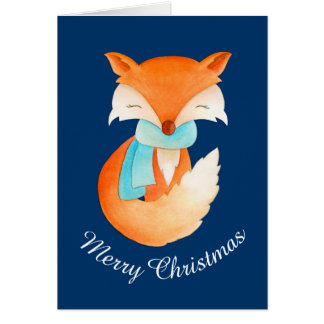 Wrapped up fox cub whimsical art Christmas card