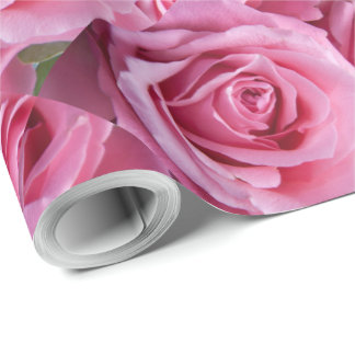 Wrapping Paper 2'x30' Roll Pink Roses Design