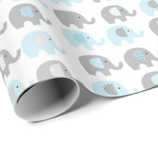 Wrapping Paper - Blue Elephants