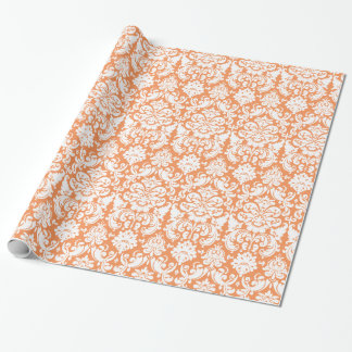 Wrapping Paper | Damask Floral Orange White