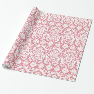 Wrapping Paper | Damask Floral Pink White