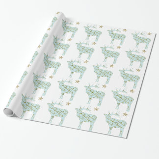 wrapping paper, French Script Reindeer