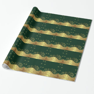 Wrapping Paper--Gold Swirls & Dark Green Wrapping Paper
