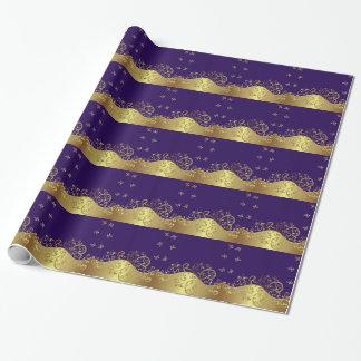Wrapping Paper--Gold Swirls & Dark Purple