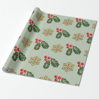 Wrapping paper Holly leaves faux gold snowflake
