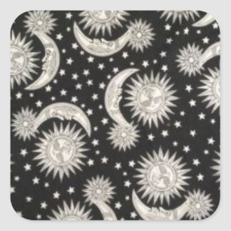 wrapping paper SUPPLIES vintage moon and stars Square Sticker
