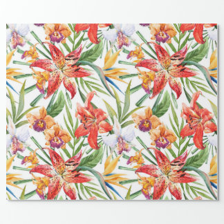 wrapping paper, tropics (white)