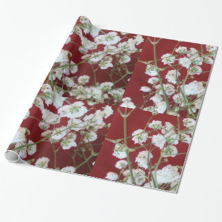 Wrapping Paper- White Baby's Breath w/Red Wrapping Paper