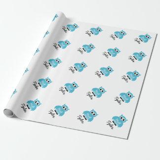 Wrappingpaper bleu de hibou de baby shower fait papiers cadeaux noël