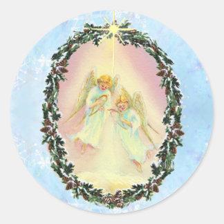 WREATH & ANGELS by SHARON SHARPE Classic Round Sticker