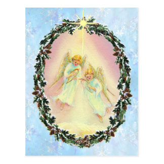 WREATH & ANGELS by SHARON SHARPE Postcard