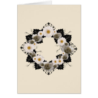 "Wreath ""Black Leaf"" Gray/White Flowers Card"