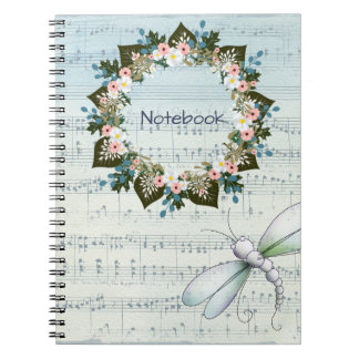 "Wreath ""Blue Dot"" Flowers Floral Notebook"