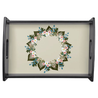 "Wreath ""Blue Dot"" Flowers Floral Serving Tray"