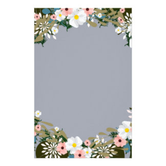 """Wreath """"Blue Dot"""" Flowers Floral Stationery"""