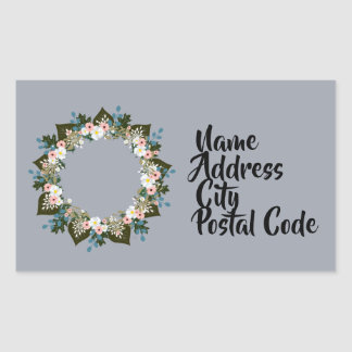 """Wreath """"Blue Dot"""" Flowers Floral Stickers"""