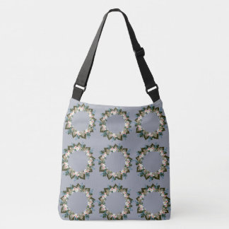 "Wreath ""Blue Dot"" Flowers Floral Tote Bag"