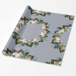 """Wreath """"Blue Dot"""" Flowers Floral Wrapping Paper"""