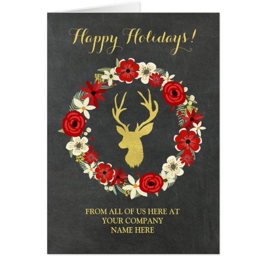 Wreath Chalkboard Gold Deer Corporate Christmas Card