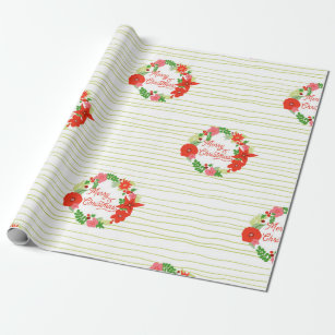Wreath Christmas Flora Wrapping paper