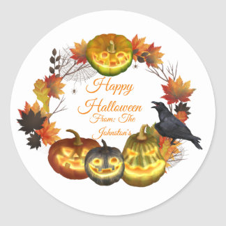 Wreath Crows Pumpkins Fall Leave Halloween Sticker