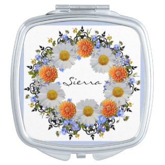 Wreath Daisy Flowers Floral Vector Compact Mirror