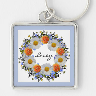 Wreath Daisy Flowers Floral Vector Orange Keychain